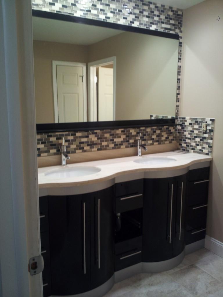 Bathroom remodel front to back home improvements - Bathroom vanity backsplash or not ...