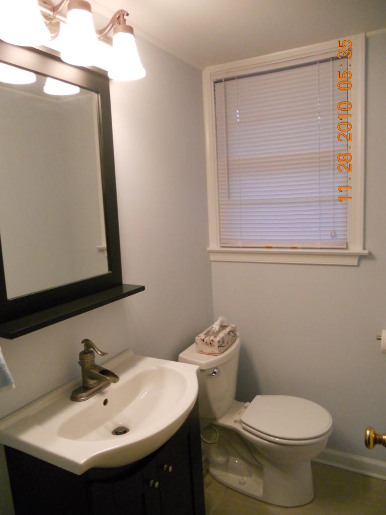 Half bathroom remodel front to back home improvements for Home improvement bathroom